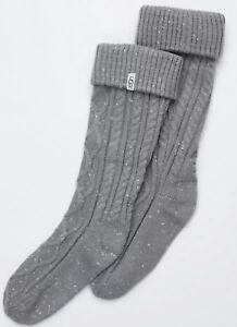 UGG-Women-039-s-Tall-Cableknit-Rainboot-Socks-9-11-Grey