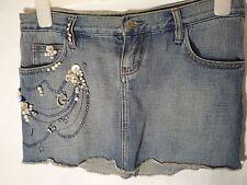 denim skirt size 27 or 8 UK Guess Jeans bejewelled mini skirt