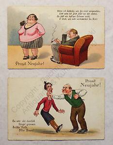 2 cartoline Prost Capodanno Capodanno grusskarte per 1930 umorismo satira illustra