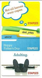 Lot Of 3 Staples Gift Cards No Value Collectible Adulting Dad