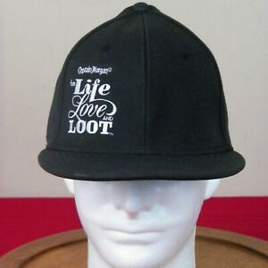 "Captain Morgan Flexfit Hat Size L-XL Black /""to Life Love and Loot/"" Brand New"