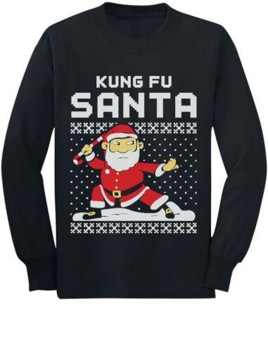 Kung Fu Santa Ugly Christmas Sweater Toddler//Kids Long sleeve T-Shirt Xmas Gift