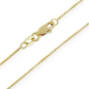 10K-Yellow-Gold-Solid-Box-Chain-Necklace-55mm-Wide-14-16-18-20-22-24-034-Lengths