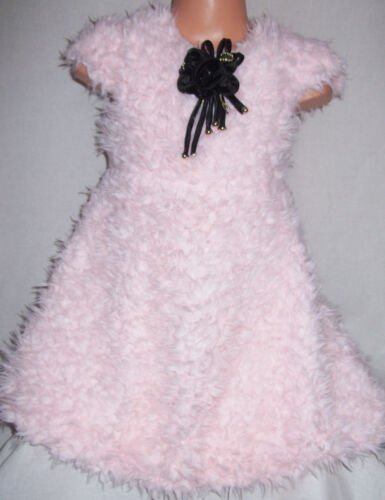 GIRLS LIGHT PINK SOFT FLUFFY TEDDYBEAR FUR WINTER SPECIAL OCCASION PARTY DRESS