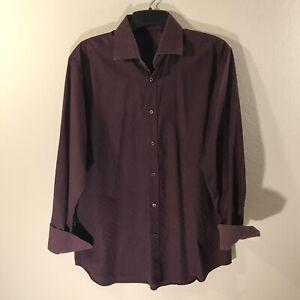 Bugatchi-Uomo-Red-Pattern-Design-Button-up-Long-Sleeve-Dress-Shirt-Size-XL