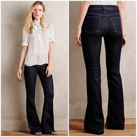 NWT Anthropologie AG Janis Flare Jeans Tonal Society 28