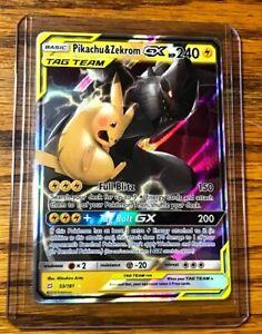 NM! Pikachu /& Zekrom GX ULTRA RARE 33//181 SM Tag Team Up Pokemon TCG Holo Foil