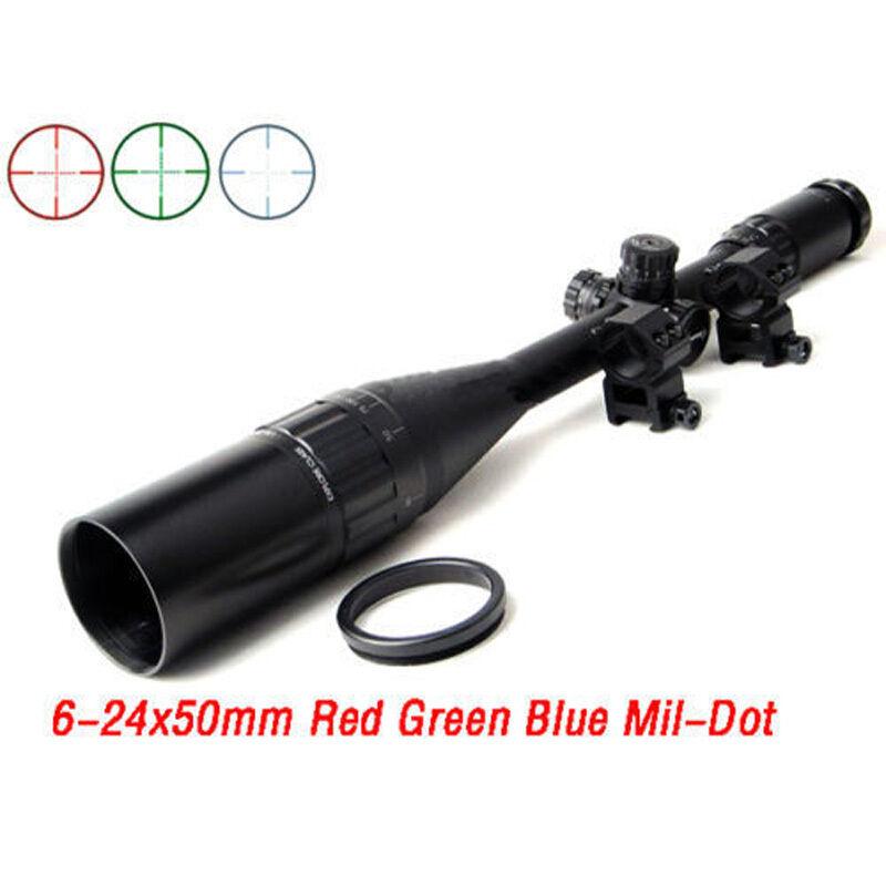 Mira para rifle caza 6-24x50AOL RGB Táctico Pistola alcance con Mil-Dot Retícula Stock