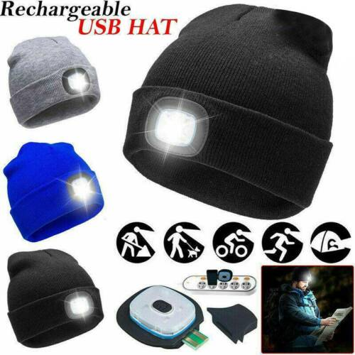 Rechargeable LED Beanie Light Hat USB Battery Thinsulate Winter Wam Material Hot