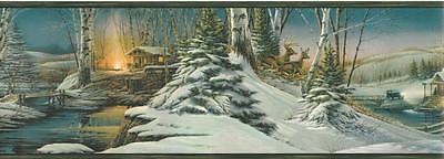 Wallpaper Border Winter Lodge Cabin Trees Snow Deer Green Trim