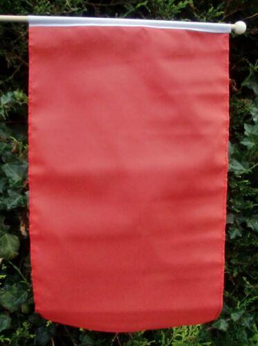 "PLAIN RED LARGE HAND WAVING FLAG 18/""X12/"" WITH 24/"" WOODEN POLE FREE POSTAGE UK"