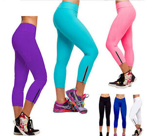New Women Capri YOGA Running Pants High Waist Cropped Leggings ...
