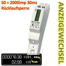 Stromzähler Wechselstromzähler S0 LCD 5(50)A für DIN Hutschiene Rücklaufsperre
