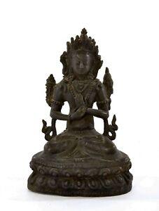 1900's Chinese Sino Tibetan Bronze Seated Buddha Figure Statute 772 Gram