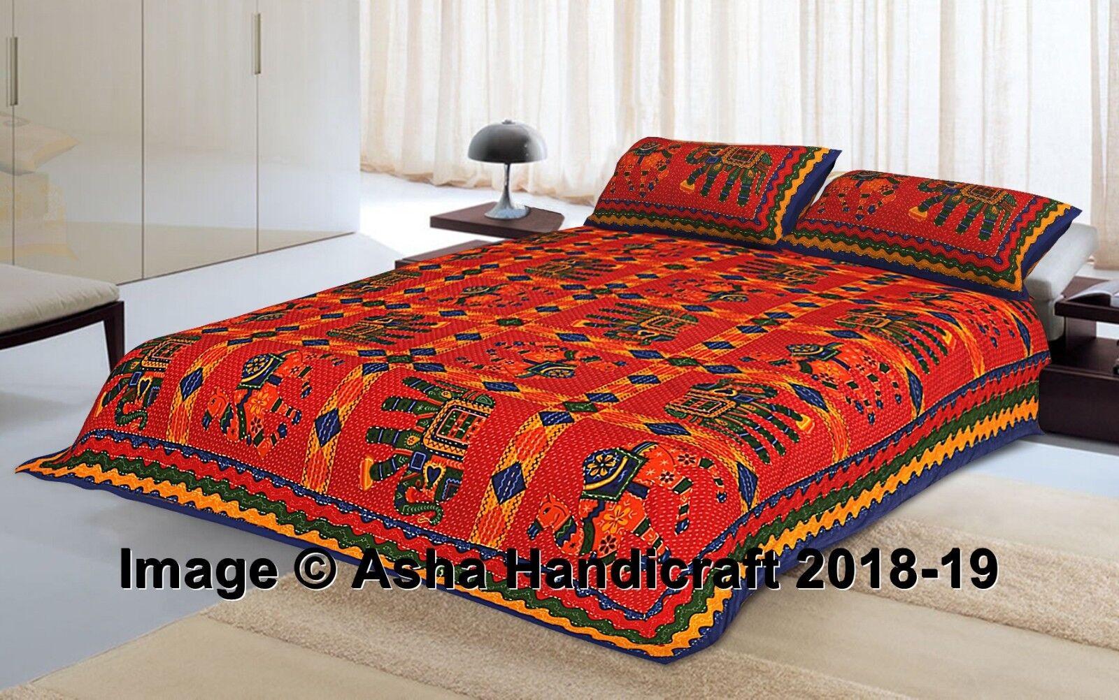 Indian Elephant Mandala Kantha Work Bed Sheet & Pillow Covers Bedding Bedspread