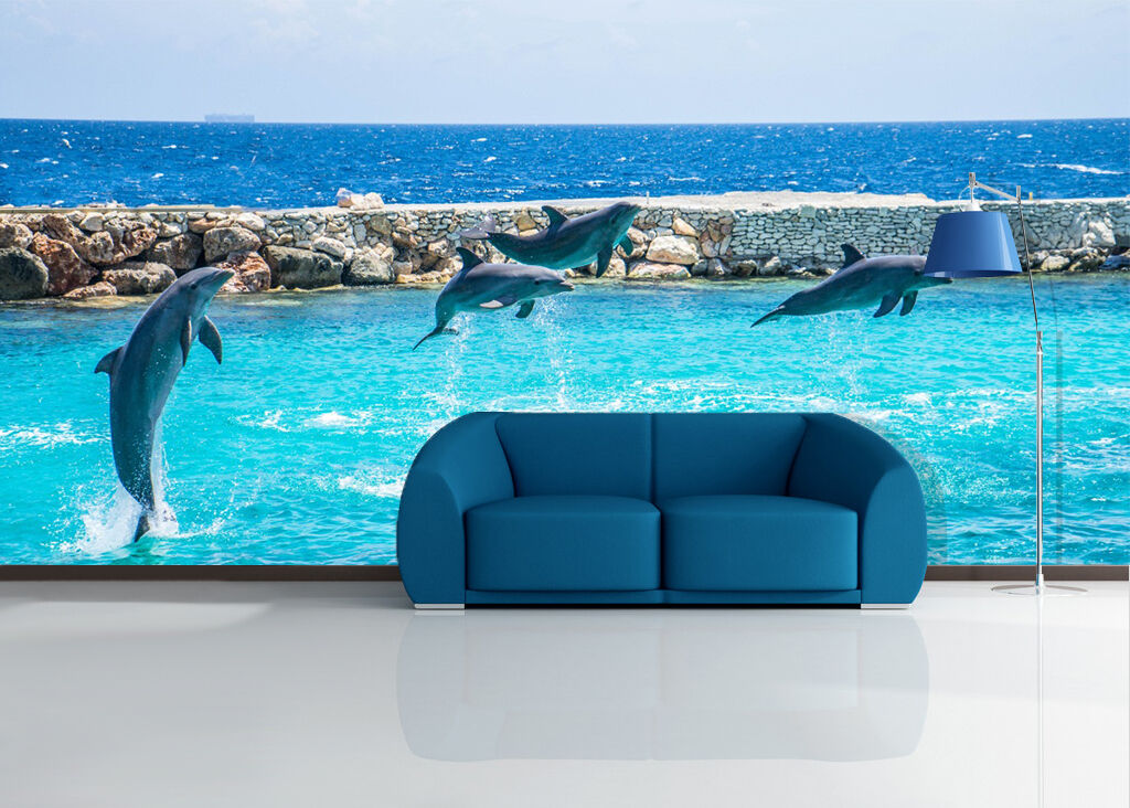 3D Sea, dolphins 4545 Wall Paper Print Wall Decal Deco Indoor Wall Murals