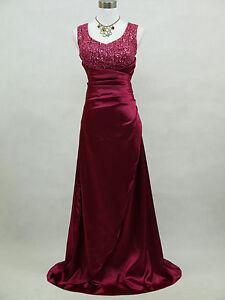 CHERLONE PURPLE SATIN LONG PROM BALLGOWN WEDDING BRIDESMAID EVENING DRESS UK 14