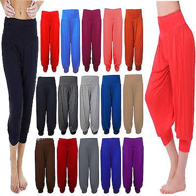 Ladies Women 3//4 Harem Hareem Pants Baggy Short Cropped Ali Baba Trousers UK8-26