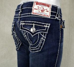 546965b4ddfb18 True Religion Jeans Women s Joey Super T DUSTY SKIES dark wash flare ...