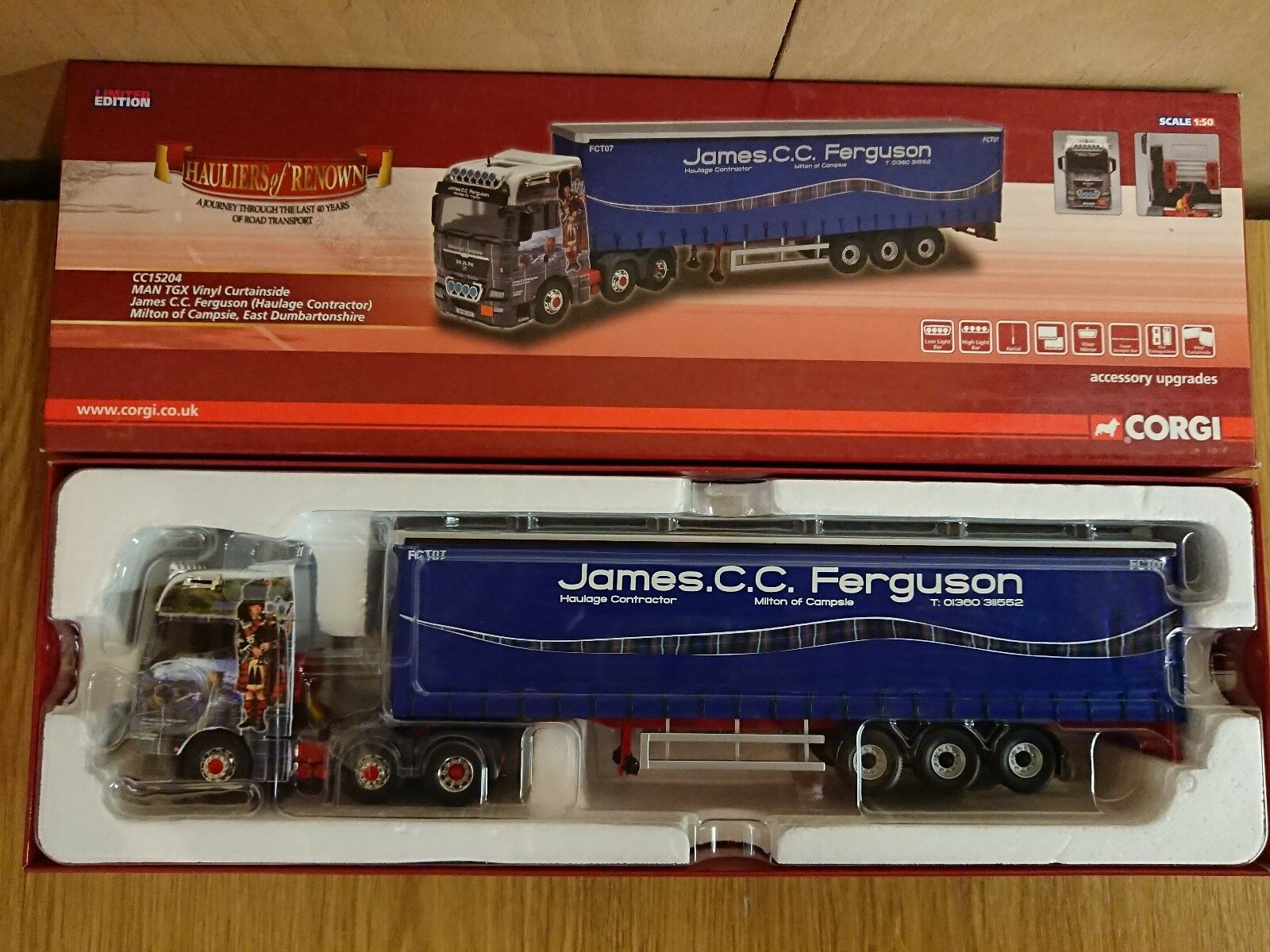 Corgi CC15204 MAN TGX Vinyl Curtain James C.C. Ferguson Haulage Factory Sample