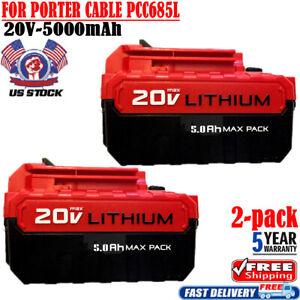 2X-FOR-PORTER-CABLE-PCC680L-PCC685L-5AH-Battery-20V-MAX-Lithium-Ion-PCC660B-Tool