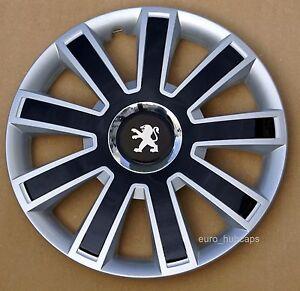 "silver/black 14"" wheel trims, hub caps, covers to peugeot 206"