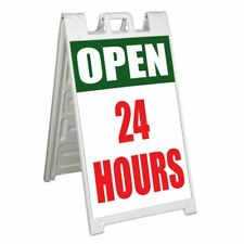 Open 24 Hours Signicade 24x36 Aframe Sidewalk Sign Banner Decal Day And Night