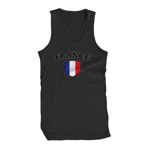 France Flag Crest French Francaise National Country Pride Mens Tank Top
