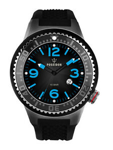 POSEIDON-Herren-Armbanduhr-XL-Slim-Analog-Silikon-UP00390-Schwarz-UVP-139