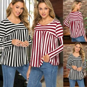 Women-039-s-Plus-size-Blouse-Striped-Long-sleeved-T-shirt-Female-Loose-Top-2019-New