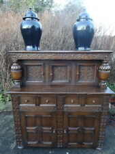 King Charles Style Large Antique Farmhouse Carved Oak Court Cupboard Cabinet