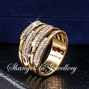 18K-GOLD-GP-Women-Wide-WRAP-RING-Wedding-PARTY-Jewellery-SWAROVSKI-CRYSTAL-R2089