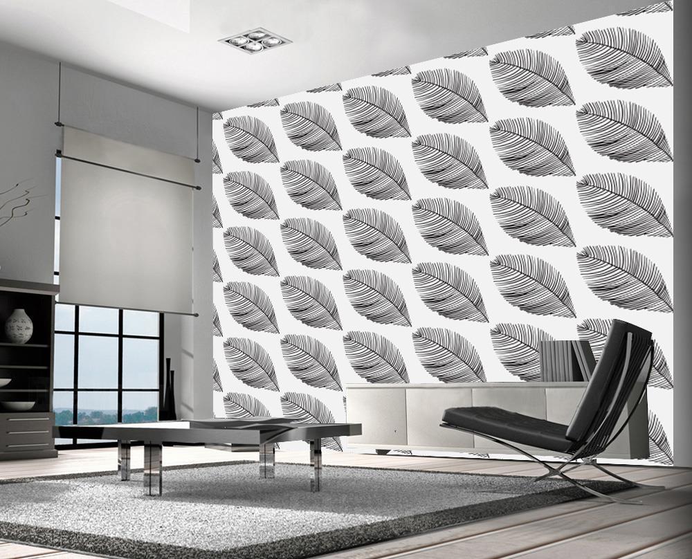 Big Leaves Pattern Wallpaper Woven Self-Adhesive Wall Art Nature Design T56