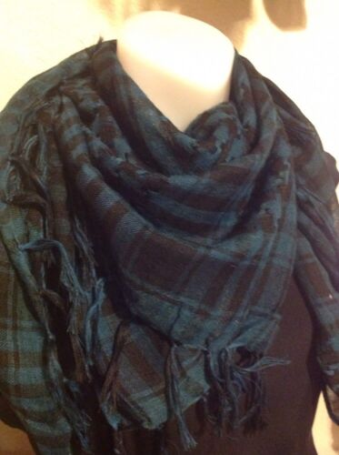 GREEN NECK SCARF SQUARE WRAP Classy Pashmina 37x37 with fringe