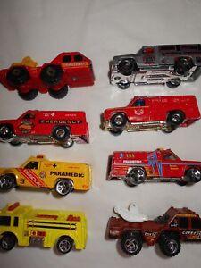 LOT-8-1974-Vintage-Mattel-Hot-Wheels-Emergency-Unit-Fire-Rescue-Trucks-Cars