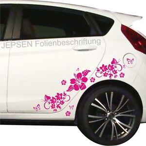 Autoaufkleber-Set-Schmetterlinge-Blumen-Hibiskus-C49-ML-oder-MR-Pink-gl