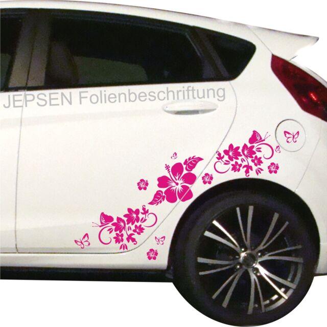 Autoaufkleber Set Schmetterlinge Blumen Hibiskus Hibiscusblüten C49 ML Pink gl
