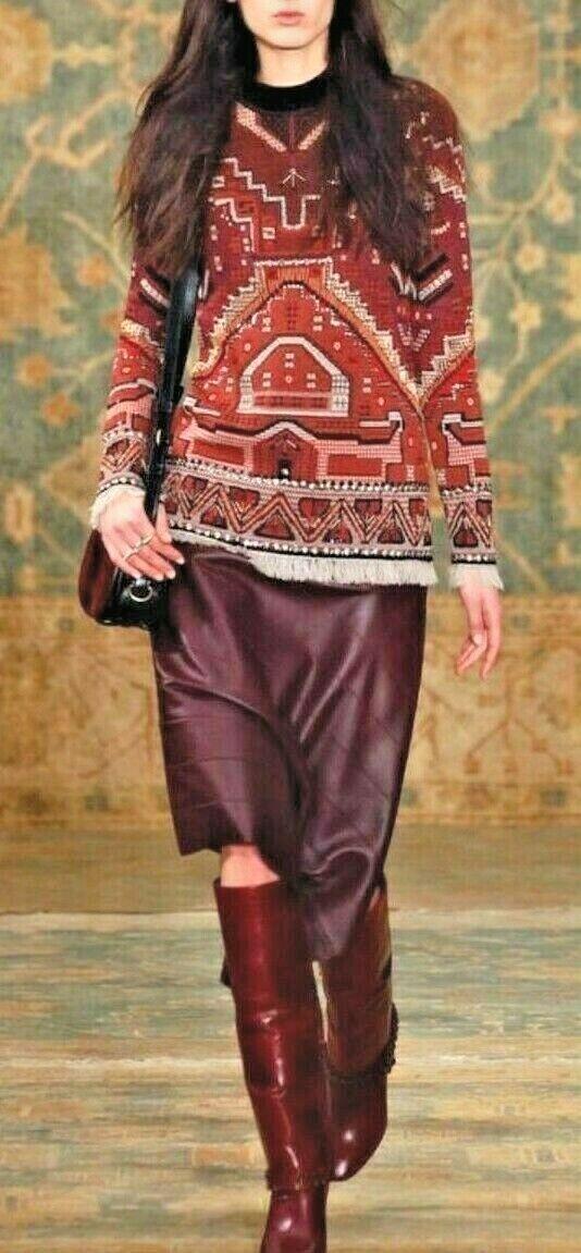 Tory Burch Tapestry Jacquard Jacquard Jacquard Sweater Large Wool Blend Fringe Hem Beads Bling 96c97a