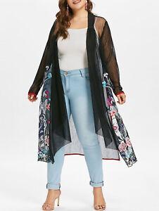 390734e5cd3 Women s Plus Size Boho Loose Blouse Sheer Coat Shawl Kimono Cardigan ...