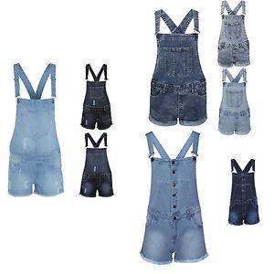 Womens-Ladies-Dungarees-Monika-Jumpsuits-Stretch-Denim-Jeans-Short-Dress