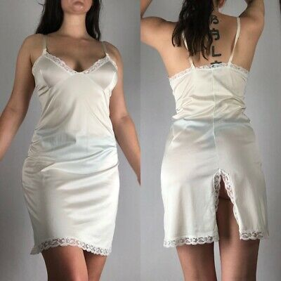 vintage off white nylon and lace slip dress negligee