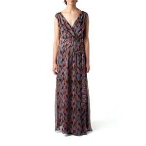 MW-by-Matthew-Williamson-Silk-Black-Feather-Sleeveless-Maxi-Dress