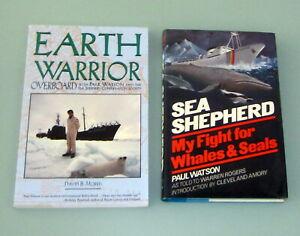 2-Books-PAUL-WATSON-SEA-SHEPHERD-SHIP-WHALES-WHALING-WARS-Greenpeace-Environment