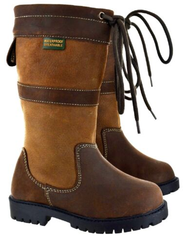KIDS GIRLS BOYS HORSE RIDING EQUESTRIAN COUNTY WATERPROOF LEATHER UPPER BOOTS