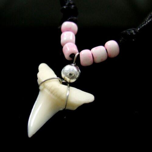 Véritable Dent Requin Pendentif Surfeur Perles Collier Pour Hommes Femmes Garçons Filles BA190