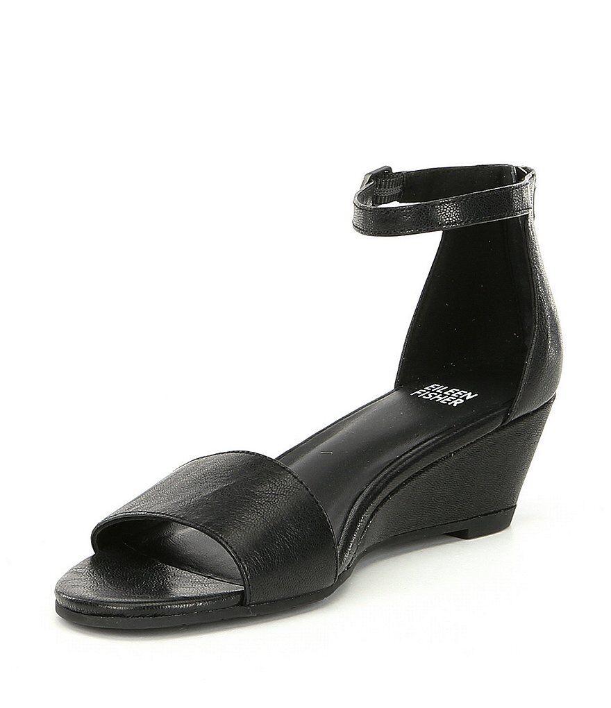 autentico online NIB  180 Eileen Fisher Fisher Fisher nero Tumbled Leather Mara Wedge Sandal scarpe Dimensione 10 M  all'ingrosso a buon mercato