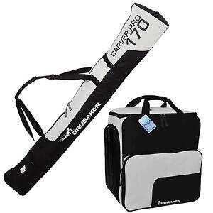 BRUBAKER Ski Bag Combo for Ski Poles Boots Helmet 66 7/8 or 74 3/4 Black Silver