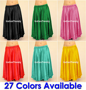 27Color-Satin-Full-Circle-Skirt-Belly-Dance-Costume-Gypsy-Tribal-9-Yard-Flamenco