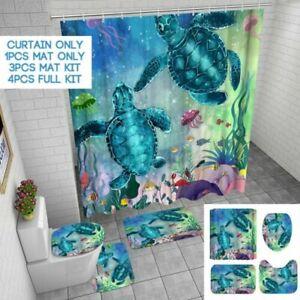 4Pcs-Set-Schildkroete-Wasserfest-Duschvorhang-Badezimmer-Toilette-Sitzbezug-Mat