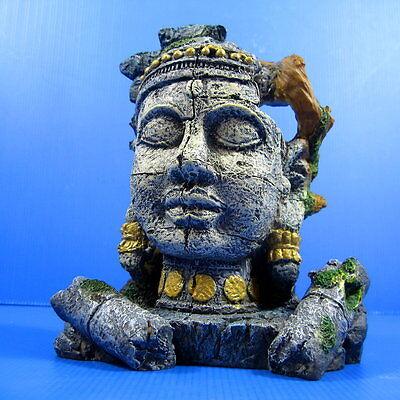 Ancient Jungle Statue Ruins Cave 18x12x21cm Aquarium Ornament Decor - Bonsai Pet